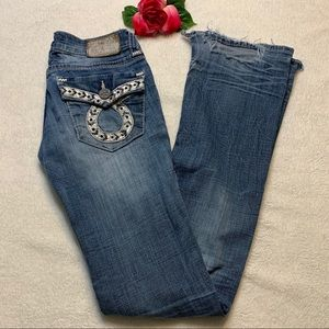 Big Star Womens 25 XL Sweet Boot Destroyed Jeans